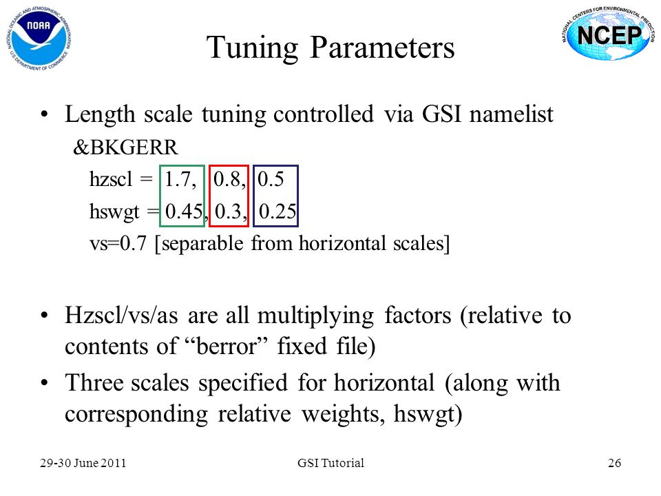 Tuning Parameters Length scale tuning controlled via GSI namelist