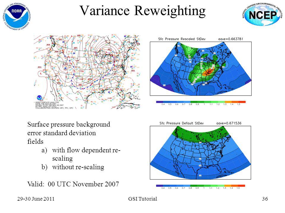 Variance Reweighting Surface pressure background