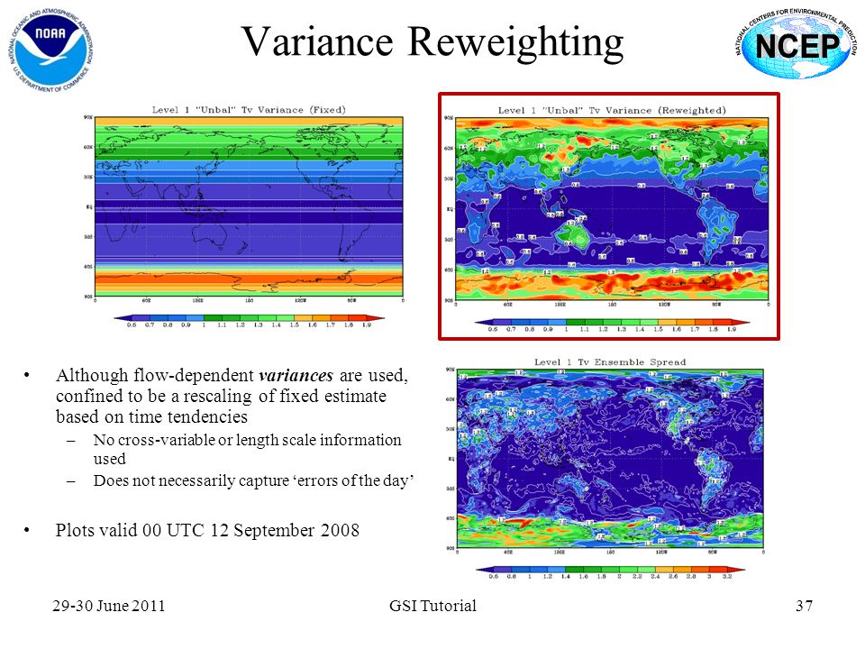 Variance Reweighting Although flow-dependent variances are used, confined to be a rescaling of fixed estimate based on time tendencies.