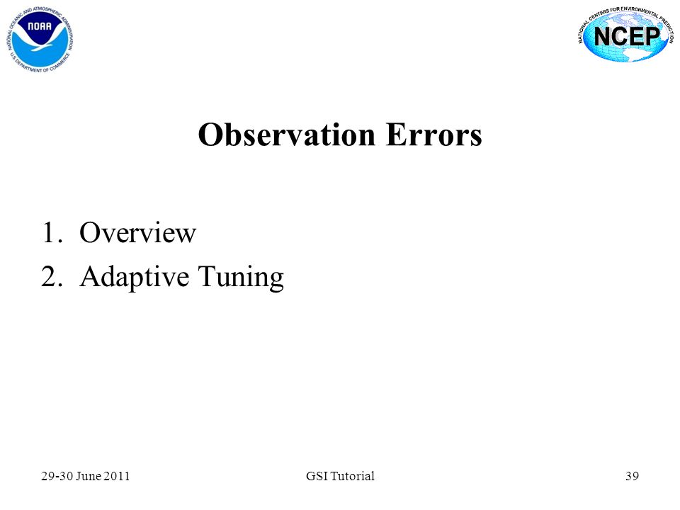 Observation Errors Overview Adaptive Tuning 29-30 June 2011