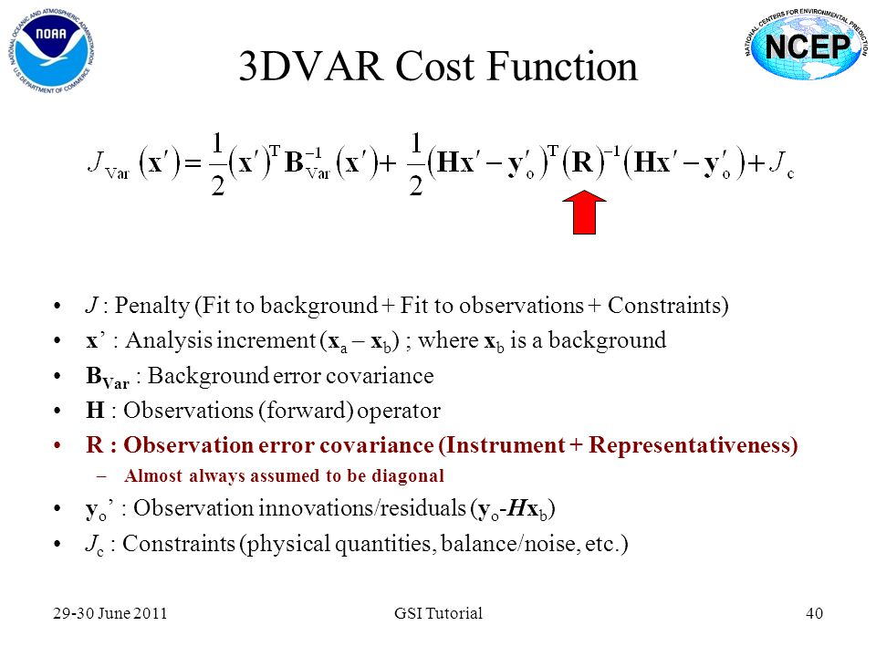 3DVAR Cost Function J : Penalty (Fit to background + Fit to observations + Constraints) x' : Analysis increment (xa – xb) ; where xb is a background.