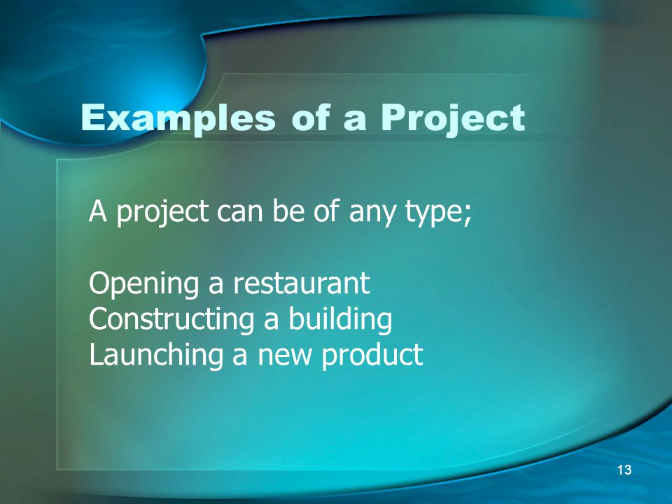 Examples of a Project A project can be of any type;