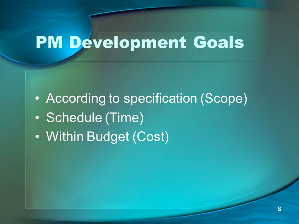 PM Development Goals According to specification (Scope)