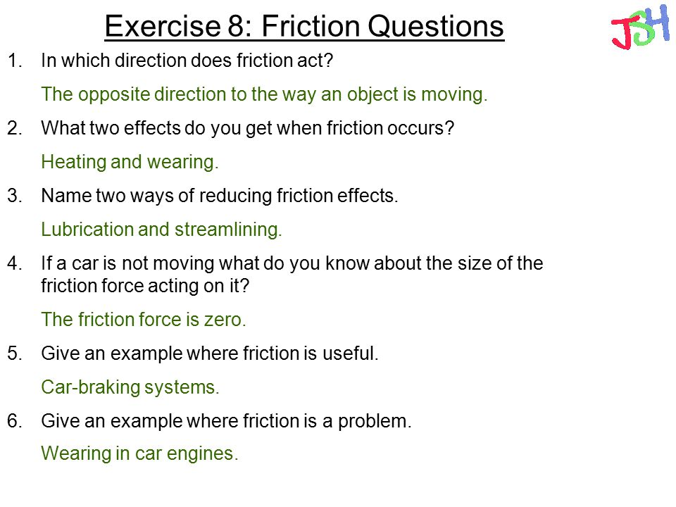 Exercise 8: Friction Questions