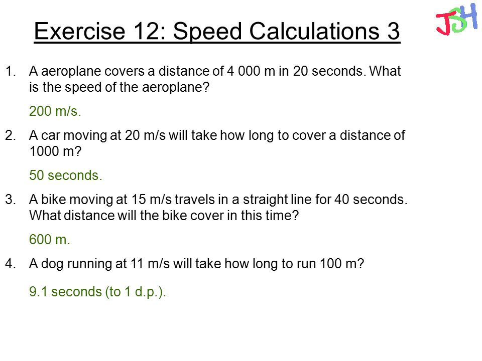 Exercise 12: Speed Calculations 3