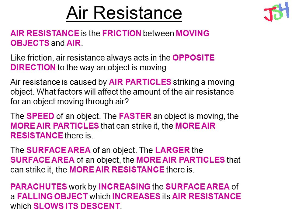 Air Resistance AIR RESISTANCE is the FRICTION between MOVING OBJECTS and AIR.