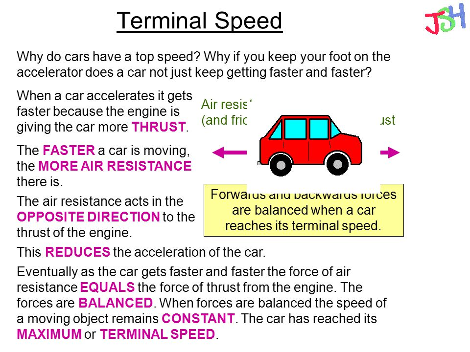 Terminal Speed Why do cars have a top speed Why if you keep your foot on the accelerator does a car not just keep getting faster and faster