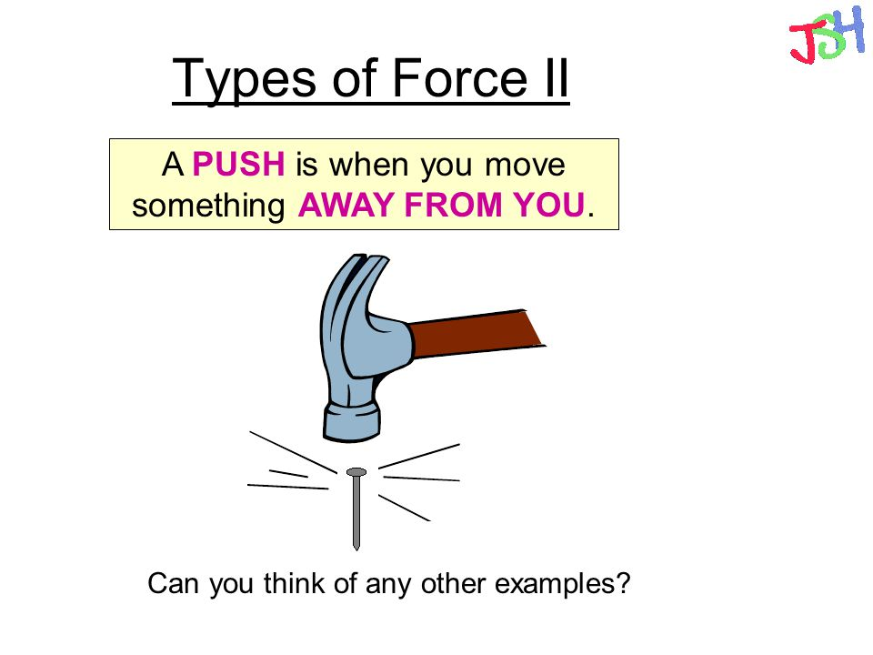 Types of Force II A PUSH is when you move something AWAY FROM YOU.