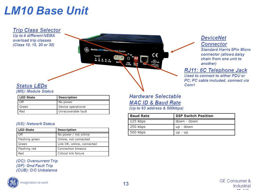 LM10 Base Unit Trip Class Selector DeviceNet Connector