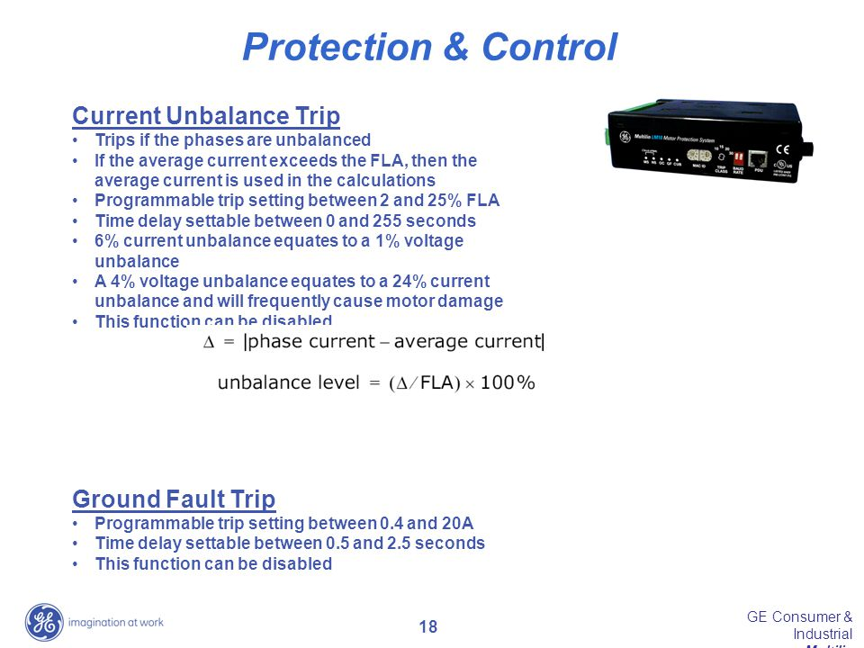 Protection & Control Current Unbalance Trip Ground Fault Trip