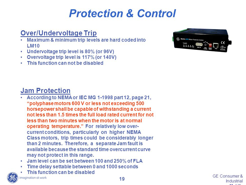 Protection & Control Over/Undervoltage Trip Jam Protection