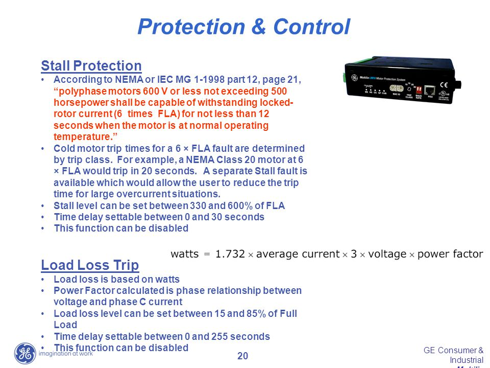 Protection & Control Stall Protection Load Loss Trip
