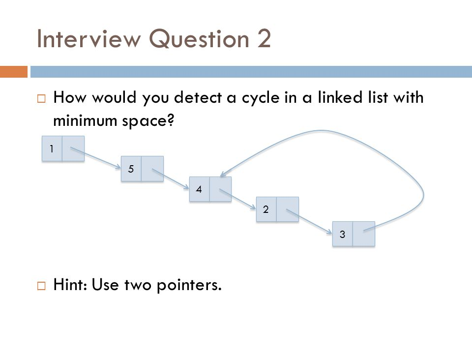 Interview Question 2 How would you detect a cycle in a linked list with minimum space Hint: Use two pointers.