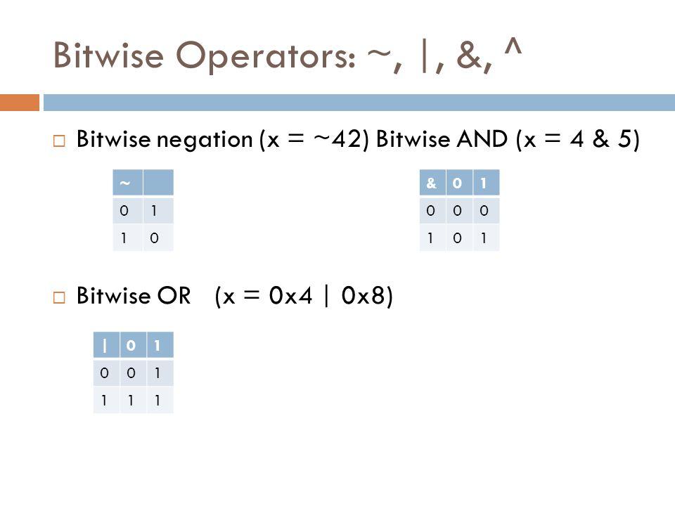 Bitwise Operators: ~, |, &, ^