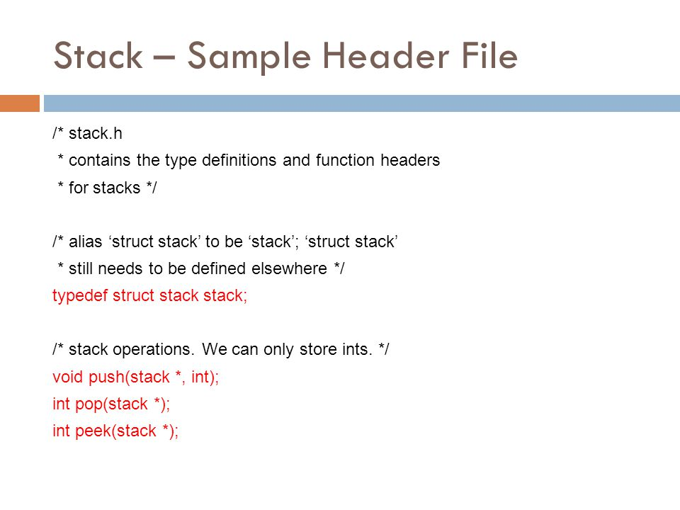 Stack – Sample Header File