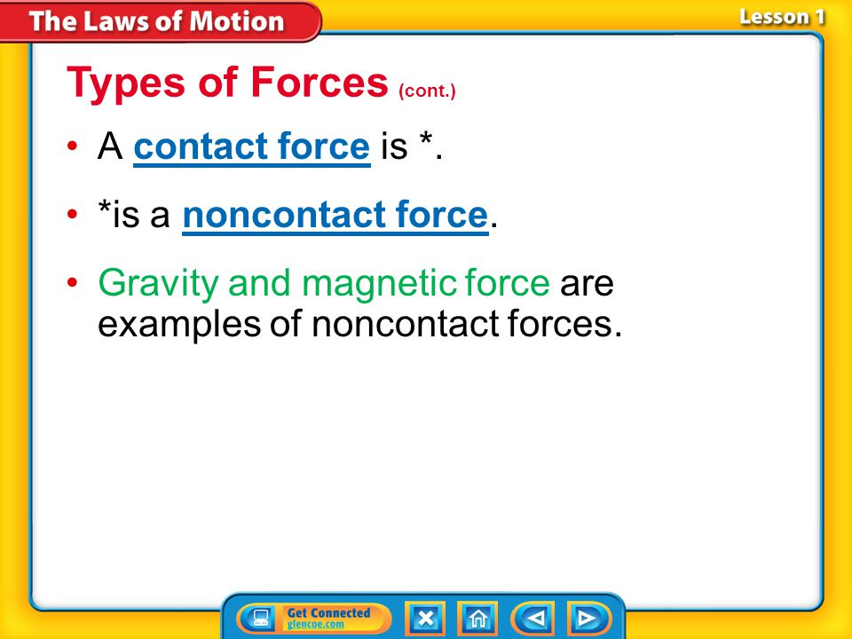 Types of Forces (cont.) A contact force is *. *is a noncontact force.