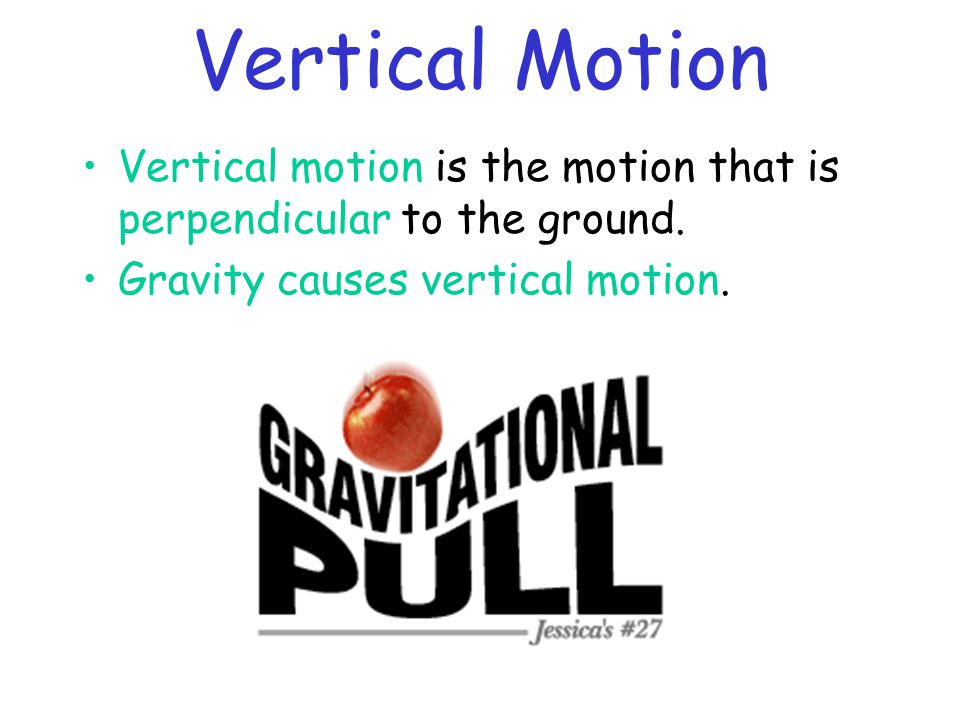 Vertical Motion Vertical motion is the motion that is perpendicular to the ground.