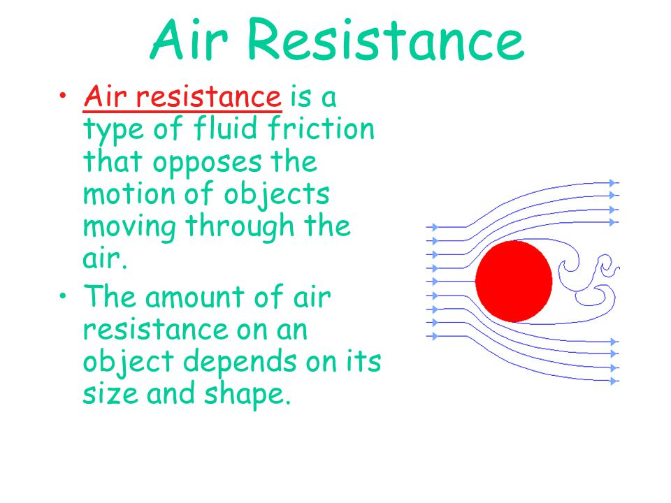 Air Resistance Air resistance is a type of fluid friction that opposes the motion of objects moving through the air.