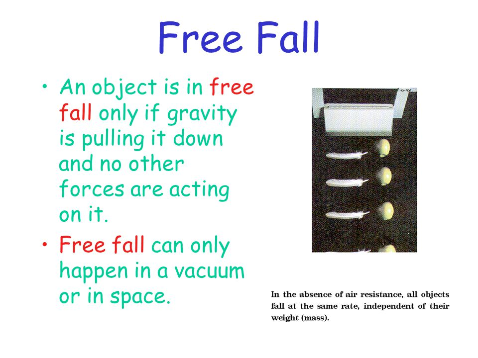 Free Fall An object is in free fall only if gravity is pulling it down and no other forces are acting on it.
