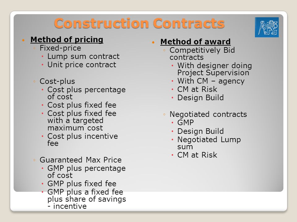 Estimating for heavy construction and unit price bids for Cost plus contract example