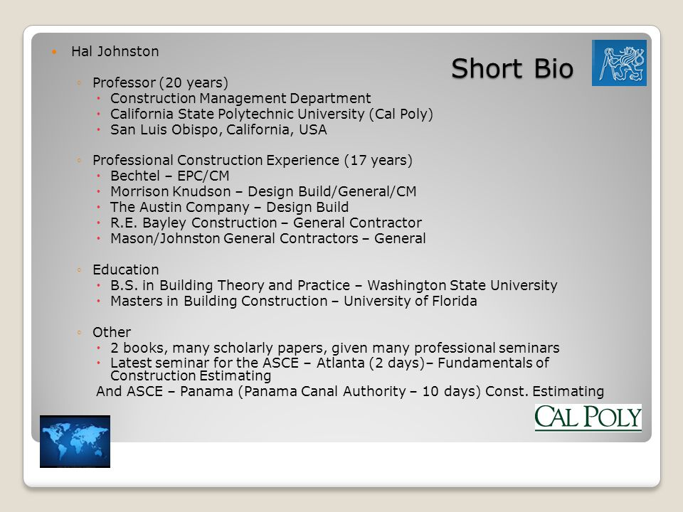 Short Bio Hal Johnston Professor (20 years)