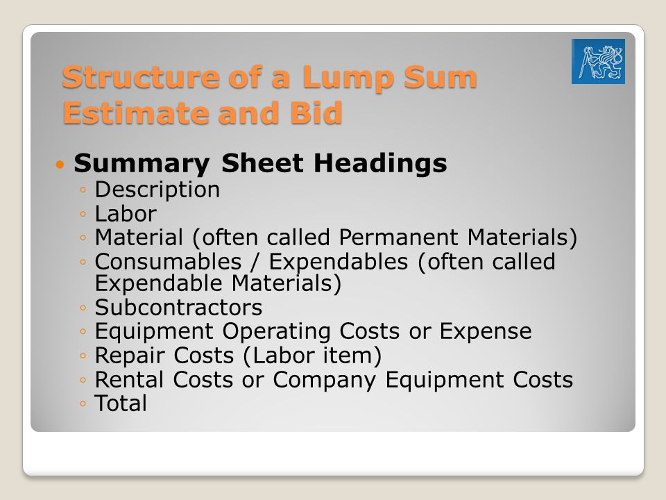 Structure of a Lump Sum Estimate and Bid