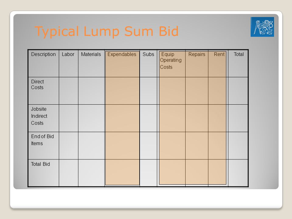 Typical Lump Sum Bid Description Labor Materials Expendables Subs