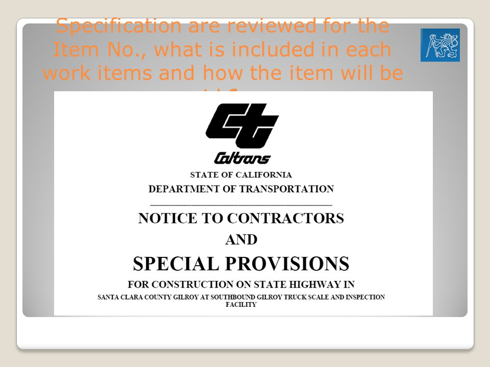 Specification are reviewed for the Item No