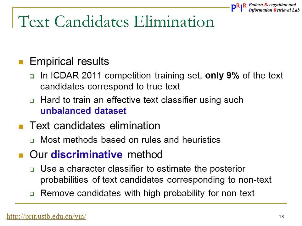 Text Candidates Elimination