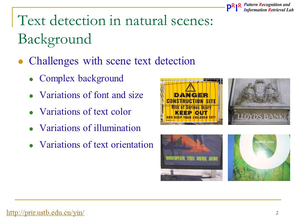 Text detection in natural scenes: Background