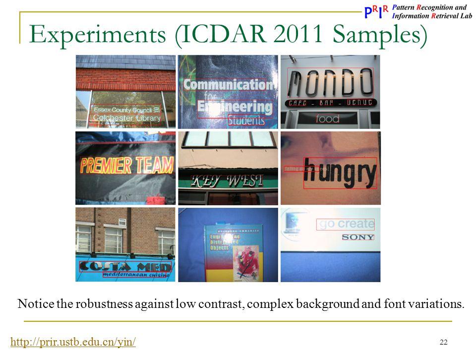 Experiments (ICDAR 2011 Samples)