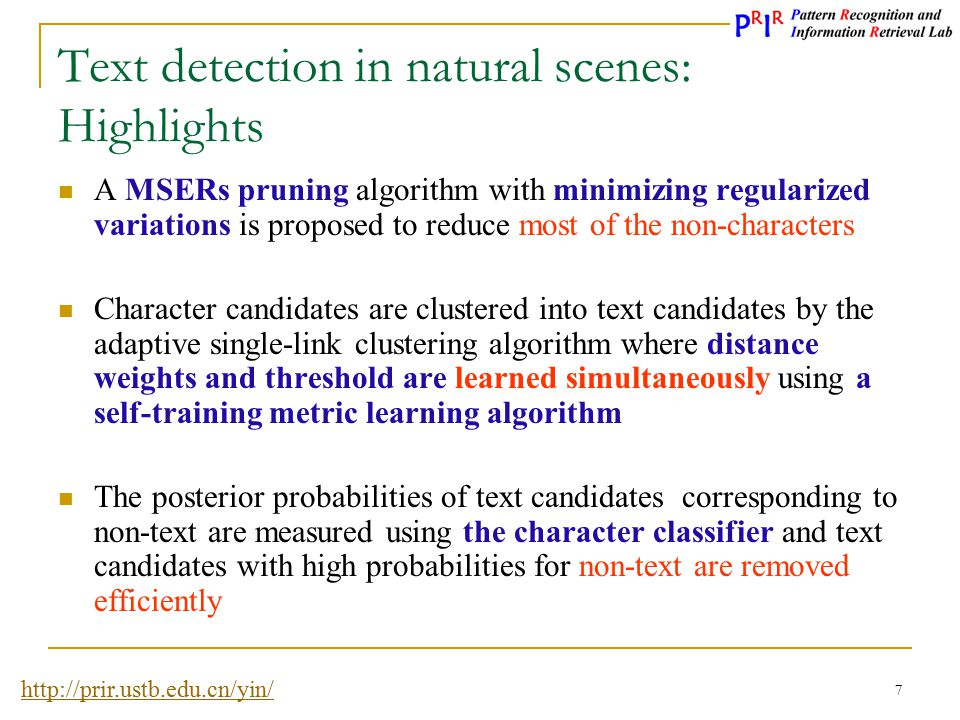 Text detection in natural scenes: Highlights