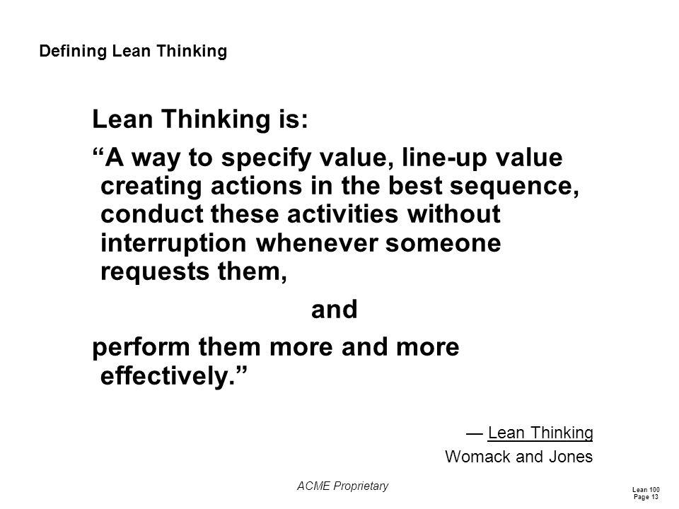 Defining Lean Thinking