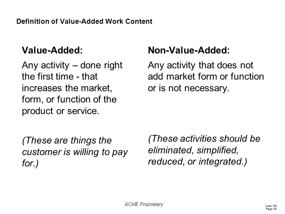 Definition of Value-Added Work Content