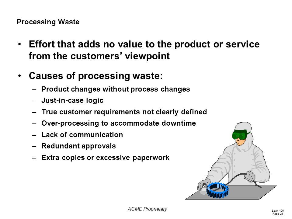 Causes of processing waste: