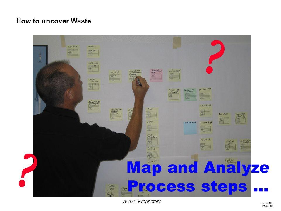 Map and Analyze Process steps …