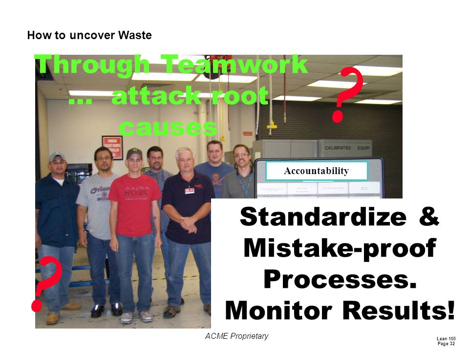 Standardize & Mistake-proof Processes. Monitor Results!