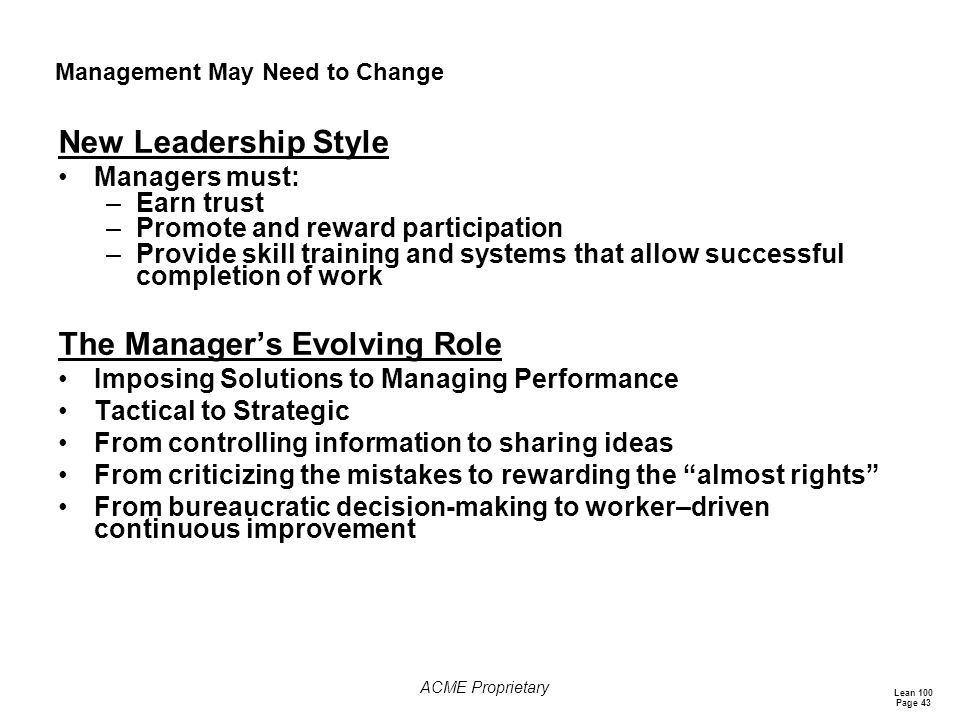 Management May Need to Change