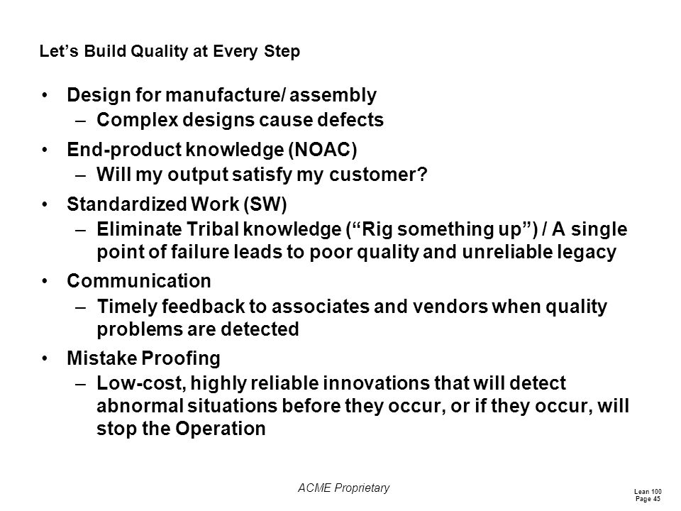 Let's Build Quality at Every Step