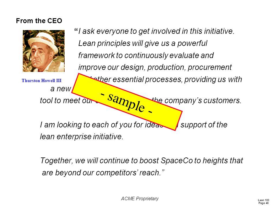 - sample - Lean principles will give us a powerful
