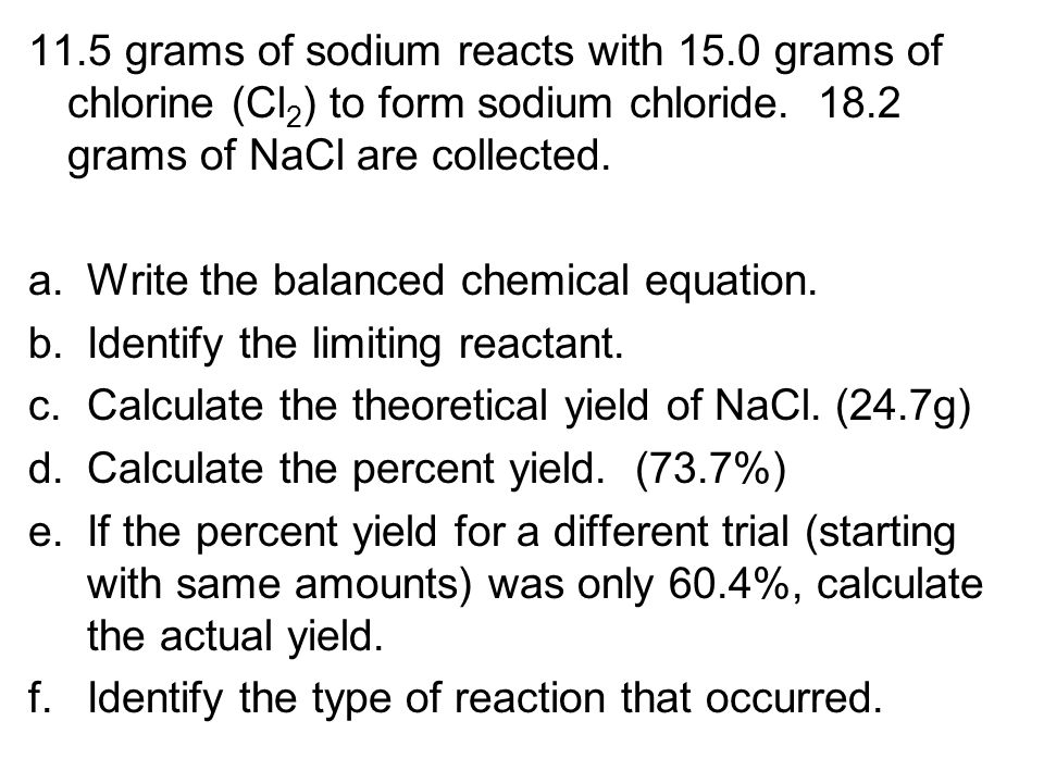 11. 5 grams of sodium reacts with 15