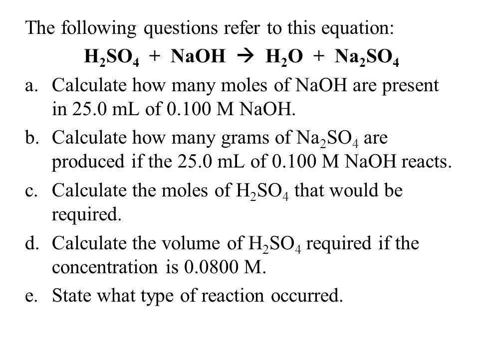 The following questions refer to this equation: