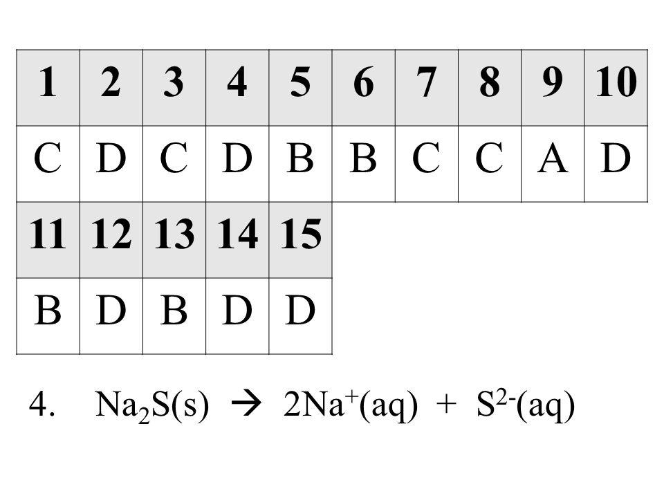 1 2 3 4 5 6 7 8 9 10 C D B A 11 12 13 14 15 4. Na2S(s)  2Na+(aq) + S2-(aq)