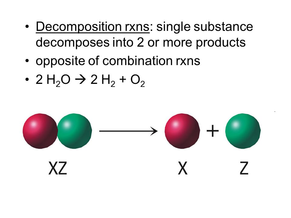 Decomposition rxns: single substance decomposes into 2 or more products