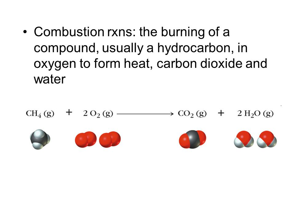Combustion rxns: the burning of a compound, usually a hydrocarbon, in oxygen to form heat, carbon dioxide and water