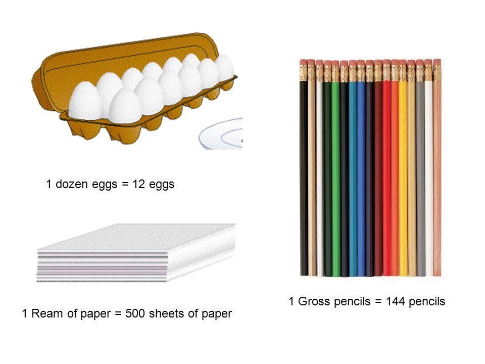 1 dozen eggs = 12 eggs 1 Gross pencils = 144 pencils 1 Ream of paper = 500 sheets of paper