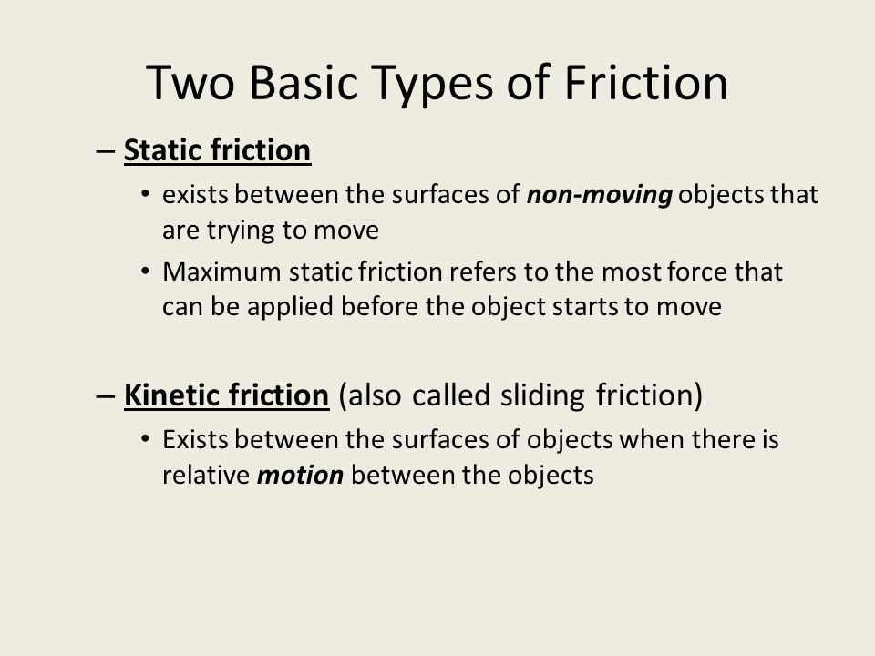 Two Basic Types of Friction