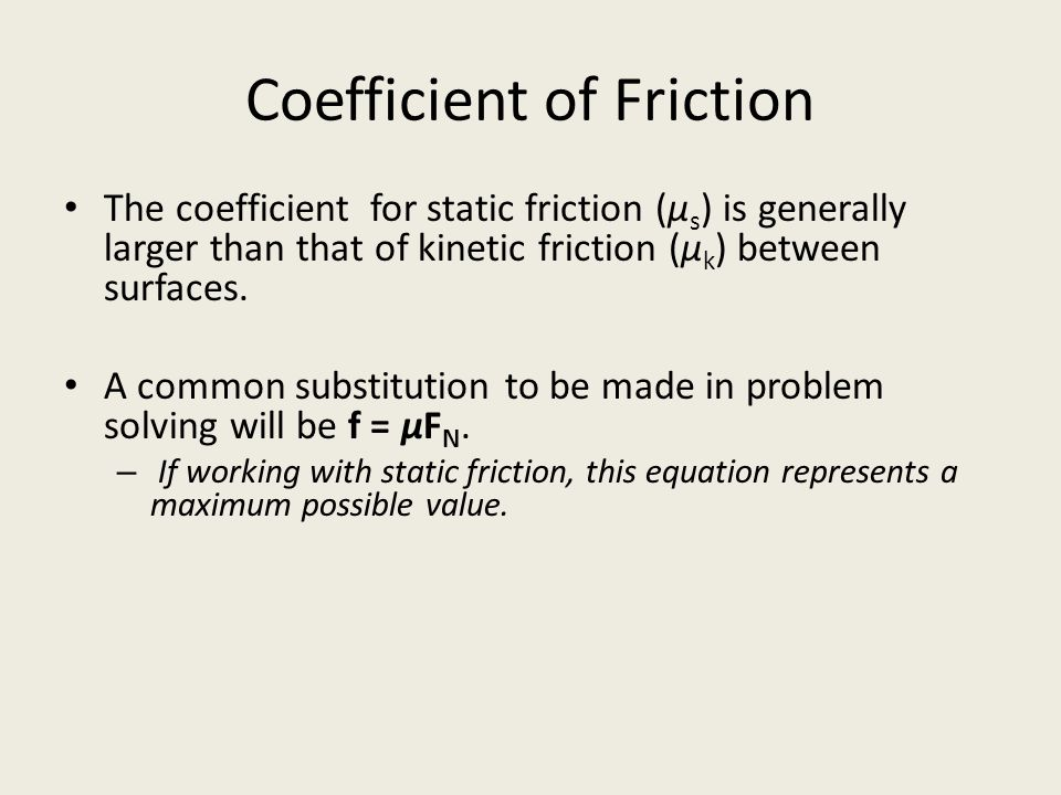 Coefficient of Friction