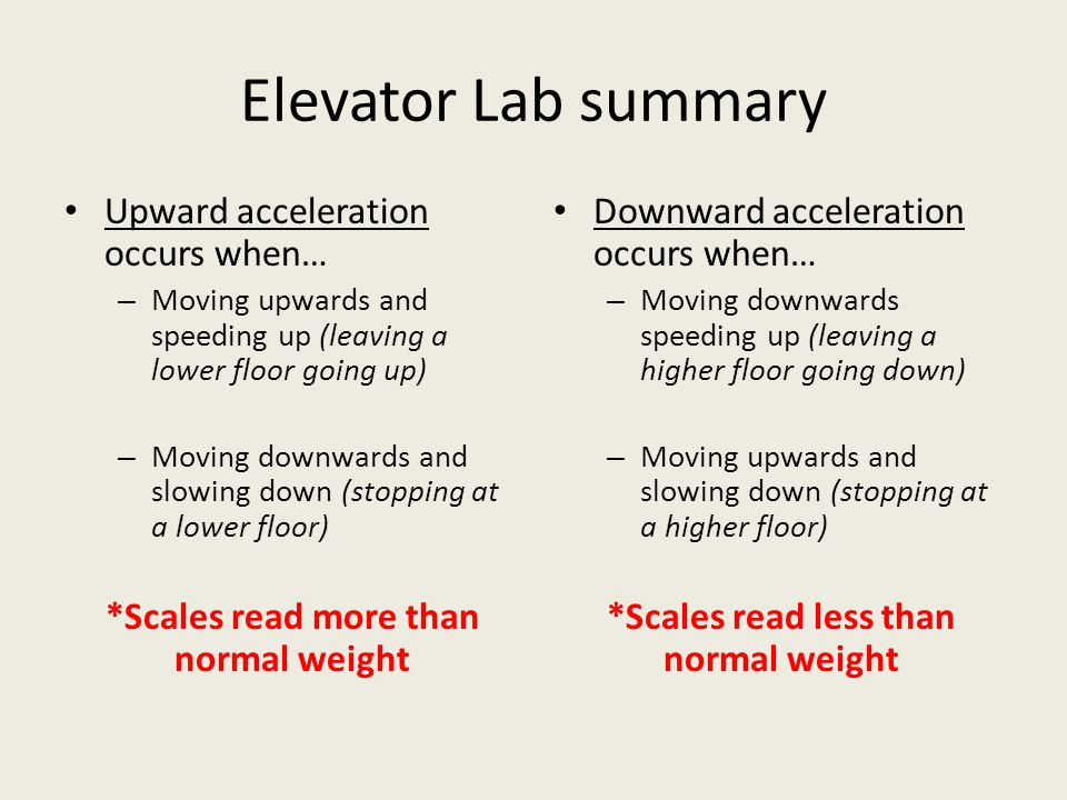 Elevator Lab summary Upward acceleration occurs when…