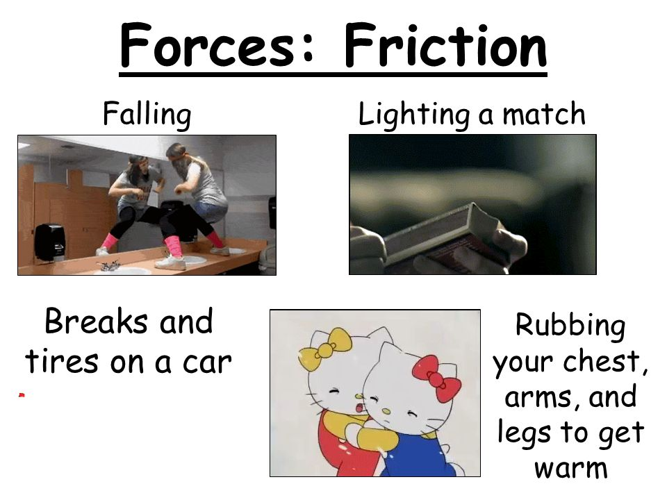 Forces: Friction Breaks and tires on a car Falling Lighting a match